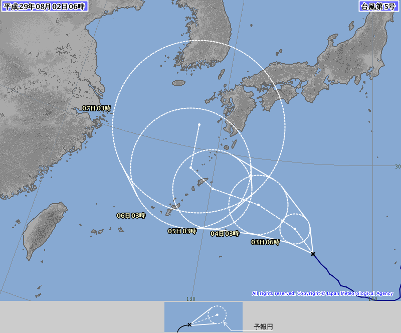 2日6時の台風予想進路