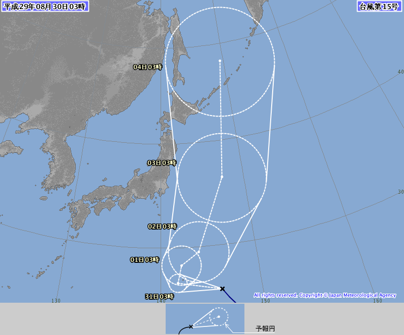 台風15号予想進路30日3時