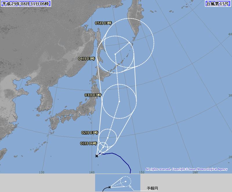 31日6時の台風15号予想進路