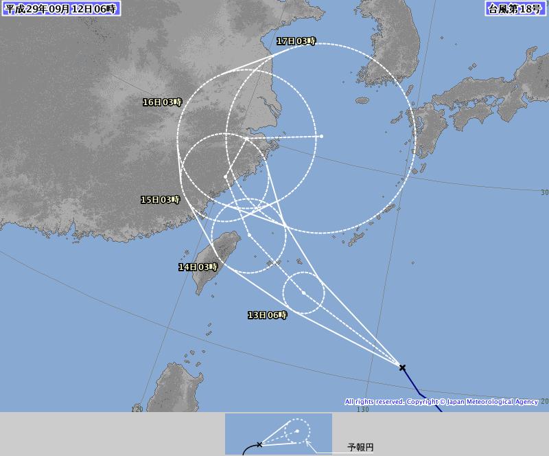 強い台風18号12日6時予想進路