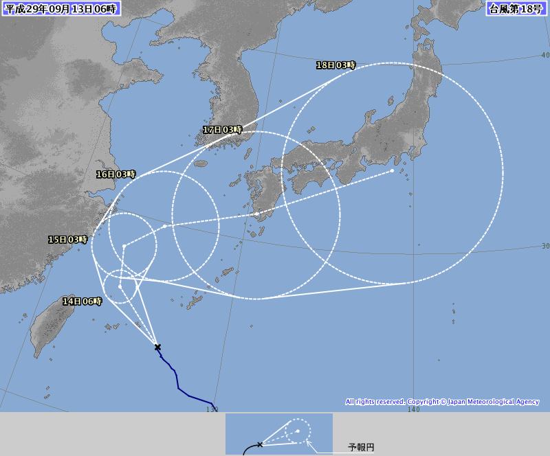 13日6時の台風18号予想進路