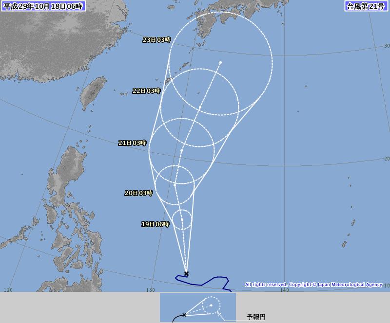 18日6時の台風21号予想進路