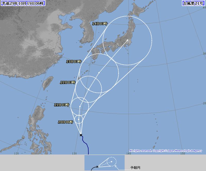 19日6時の台風21号予想進路