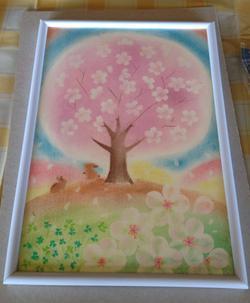H様が描かれた桜のパステルアート