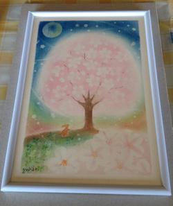 F様が描かれた桜のパステルアート