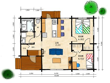復興住宅プラン*県産杉ログハウス