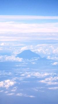 空から富士山~白&青