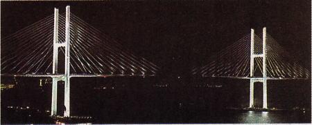 ライトアップされた女神大橋