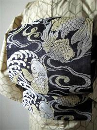 金魚と鯉、海老と珊瑚柄名古屋帯(コーディネート)☆