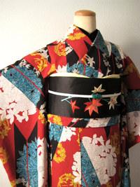 煉瓦色に矢羽と花の丸小紋(コーディネート)☆