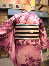 紫暈しに薔薇柄錦紗袷着物(コーディネート)☆