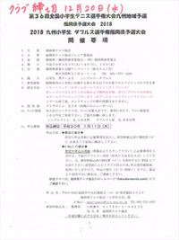 2018 全国小学生テニス選手権大会 福岡県予選 九州小学生4年生テニス選手権大会の申込のお知らせです。