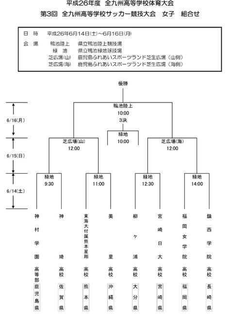 【試合予定】平成26年度全九州高校サッカー大会 <女子>(1回戦)