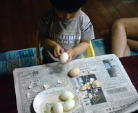 息子がゆで卵の皮を剥いてくれた母は嬉しい☆