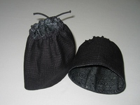 格子柄の紬と大島紬で作った袖口カバー
