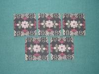 花柄の紬で作った敷物5枚セット