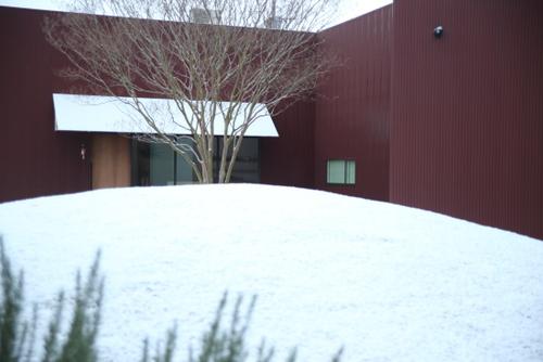 お店の庭の雪景色