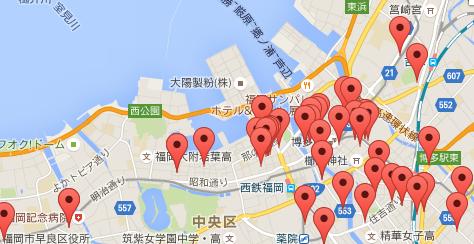 福岡市内マンスリーマンション物件地図