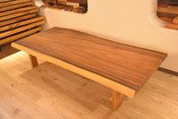 綺麗なモンキーポッド一枚板のローテーブル完成!