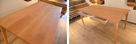 ブラックチェリー長辺×2引き出し付きテーブル完成!