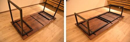 2way ウォールナット×L型の鉄脚テーブル完成!