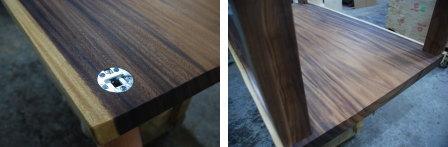 モンキーポッド一枚板テーブル脚加工