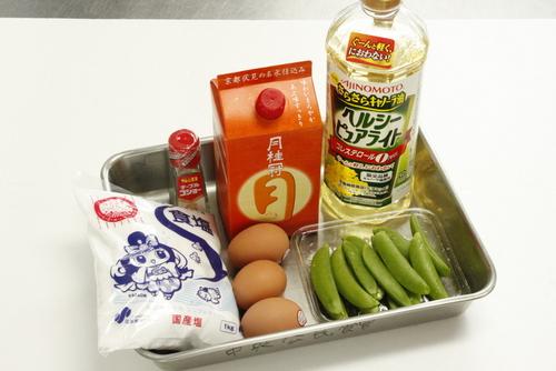 さやえんどうと卵の炒め物の材料