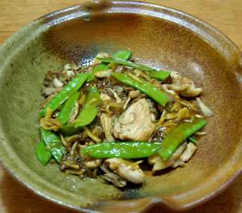 鶏肉と舞茸の炒め 博多んぽん酢あん