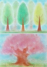 3月のパステルアート 木と桜