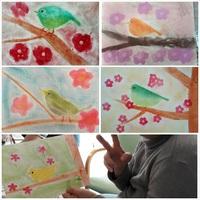 2016.2月 糸島たんぽぽパステル教室 梅と鶯