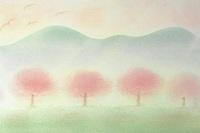 パステルアート 桜のある風景2