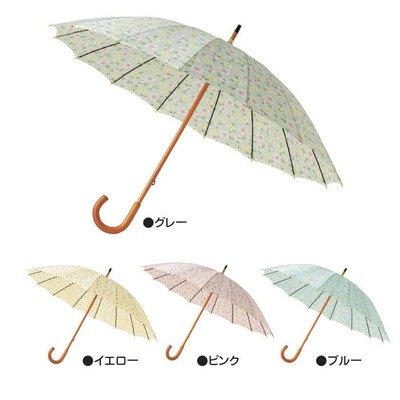 <br /> フローラル木軸16本骨傘