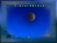 フォト575sk0401『 手に花を心に希望を冬の月 』