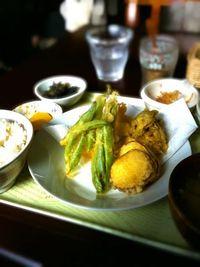 鶏といんげん・さつまいもの天ぷら