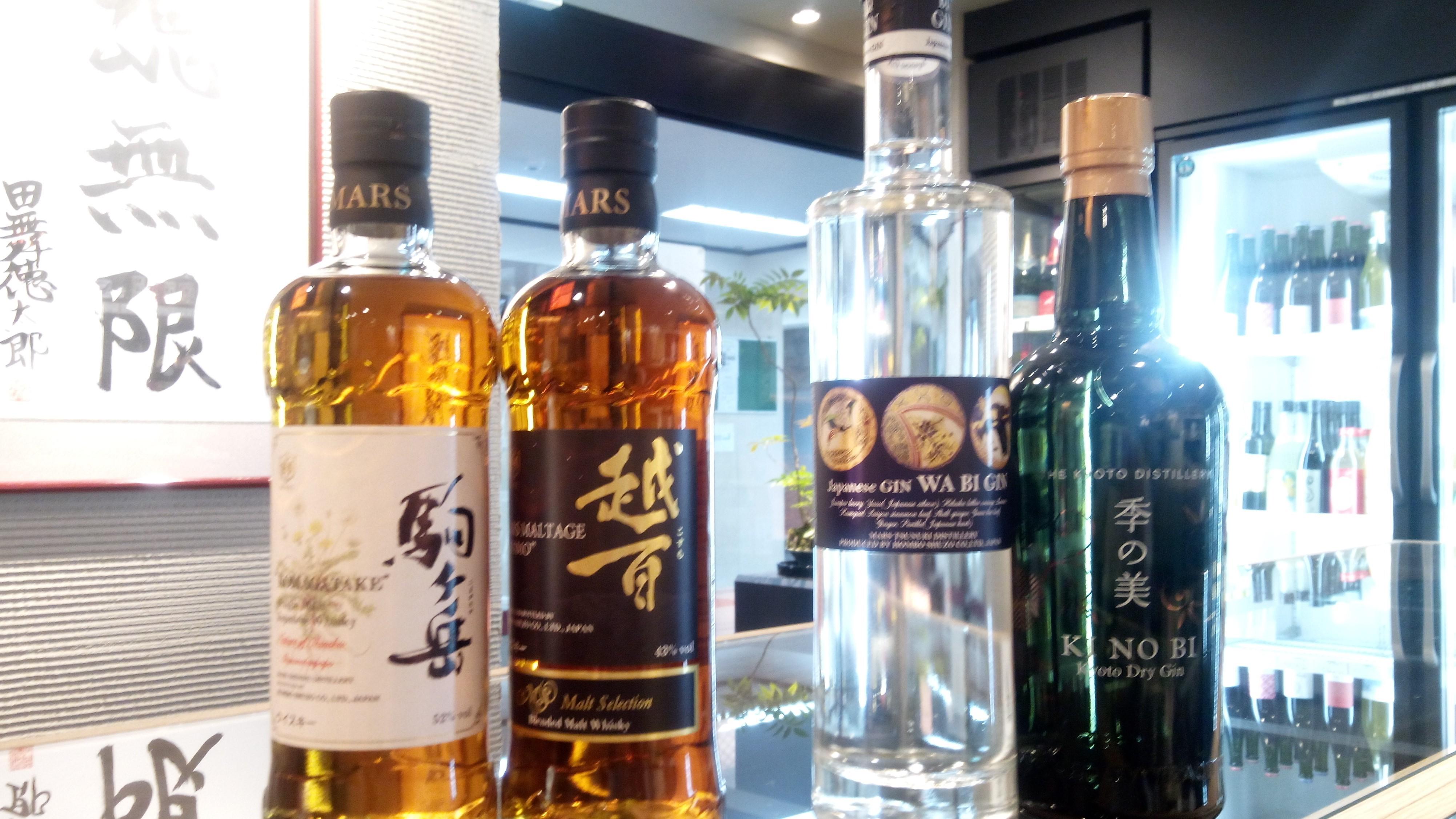 日本のウィスキーとジン