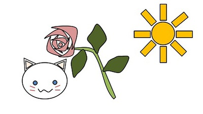 猫とバラです。