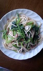 塩辛と小松菜のペペロンチーノ